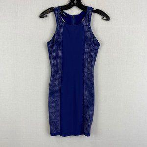 BEBE Blue Silver Crystal Beaded Dress